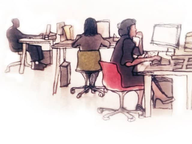Werkende mensen op kantoor