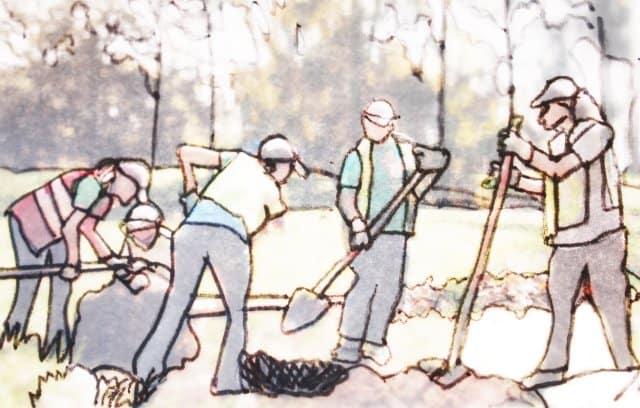 Werkende mensen in de tuin